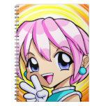 Chica lindo del animado cuaderno