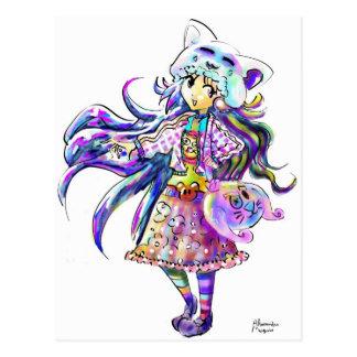 Chica lindo del animado de la moda de Kawaii - est Tarjeta Postal