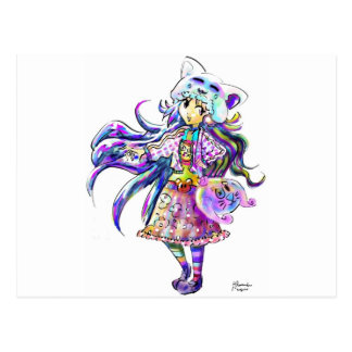 Chica lindo del animado de la moda de Kawaii - est Tarjetas Postales