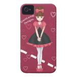 Chica lindo del animado del bolero del corazón iPhone 4 Case-Mate funda