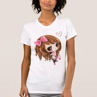 Chica lindo del chibi con el arco grande rosado - polera
