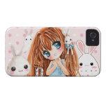 Chica lindo del chibi con los conejitos del kawaii Case-Mate iPhone 4 carcasa