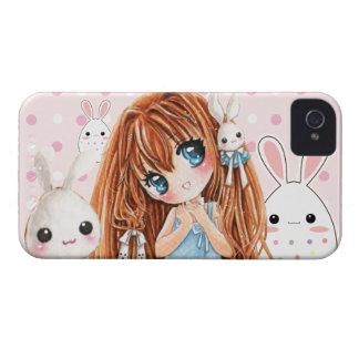 Chica lindo del chibi con los conejitos del kawaii funda para iPhone 4 de Case-Mate