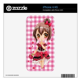 Chica lindo del chibi del animado con el rosa rojo skins para eliPhone 4