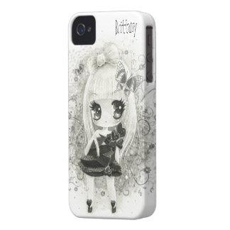 Chica lindo del chibi en blanco y negro - caso de Case-Mate iPhone 4 fundas