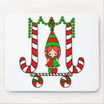 Chica lindo del duende del navidad del bufón - bas tapetes de ratones