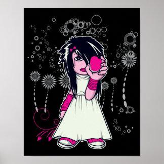 chica lindo del emo que lleva a cabo arte del vect póster