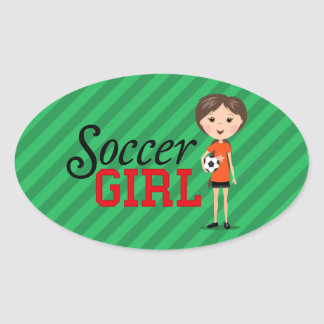 Chica lindo del fútbol del dibujo animado que pegatina de óval personalizadas