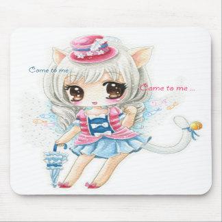Chica lindo del gato - cojín de ratón alfombrillas de ratón
