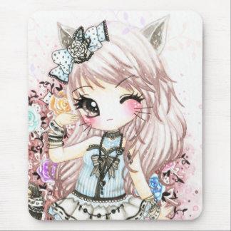 Chica lindo del gato en estilo del lolita tapete de ratón