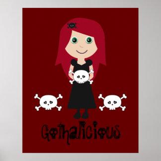 Chica lindo del gótico del Redhead de Gothalicious Póster