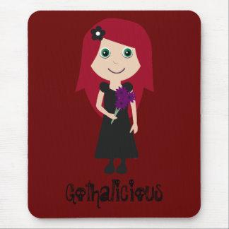 Chica lindo del gótico del Redhead de Gothalicious Tapetes De Ratones
