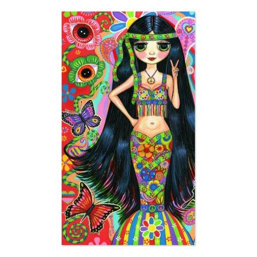 Chica lindo del Hippie del signo de la paz de la f Plantilla De Tarjeta Personal
