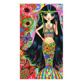 Chica lindo del Hippie del signo de la paz de la Tarjetas De Visita