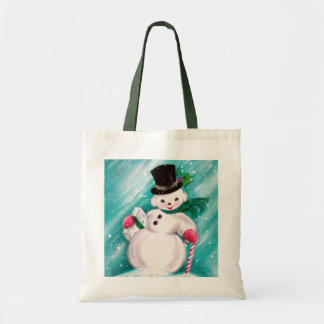 Chica lindo del muñeco de nieve bolsa tela barata