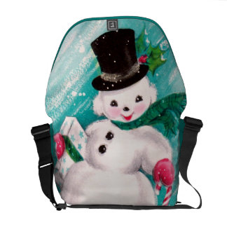 Chica lindo del muñeco de nieve bolsas messenger