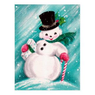 Chica lindo del muñeco de nieve tarjeta postal