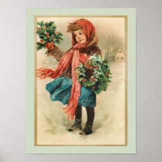 Chica lindo del navidad del vintage con las guirna póster