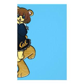 Chica lindo del oso de la caloría personalized stationery