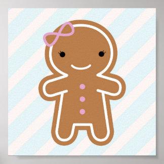 Chica lindo del pan de jengibre de Kawaii de la Póster