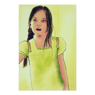 Chica lindo del pequeño niño poster