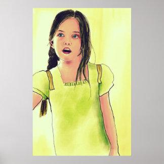Chica lindo del pequeño niño póster