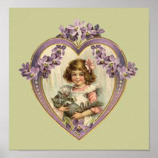 Chica lindo del vintage y corazón floral del gatit posters