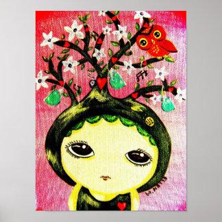Chica lindo - ella crece un árbol posters