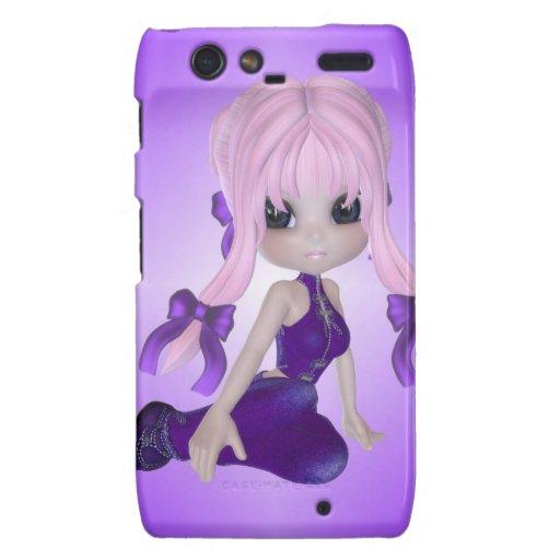 Chica lindo en ropa púrpura droid RAZR funda