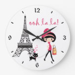 Chica lindo, gato negro con la torre Eiffel París Reloj Redondo Grande
