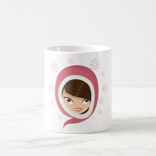 Chica lindo taza de café