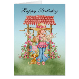 Chica lindo y desear la tarjeta de cumpleaños bien