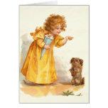 Chica lindo y Terrier del Victorian de Frances Bru Felicitación