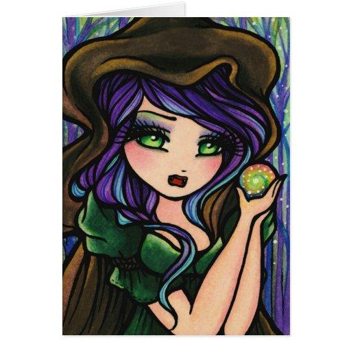 Chica mágico de la fantasía del bosque de la tarjeta de felicitación