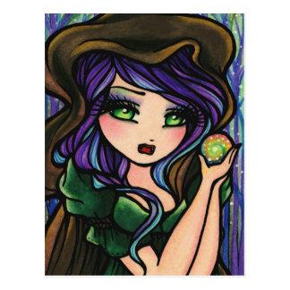 Chica mágico del arte de la fantasía del bosque de postal