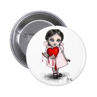 Chica malévolo de la tarjeta del día de San Valent Pin Redondo 5 Cm