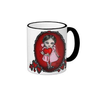 Chica malévolo de la tarjeta del día de San Valent Taza De Café