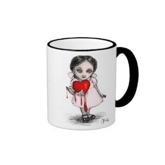 Chica malévolo de la tarjeta del día de San Valent Tazas De Café