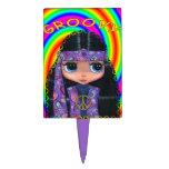 Chica maravilloso del Hippie en Paisley púrpura Figuras De Tarta