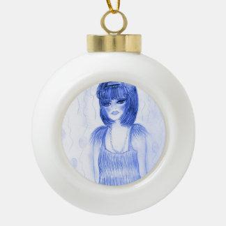 Chica marchosa azul de la aleta adorno de cerámica en forma de bola