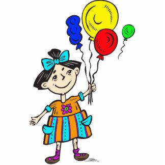 Chica marchosa con los globos escultura fotográfica