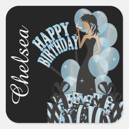 Chica marchosa de la diva del feliz cumpleaños calcomania cuadrada personalizada