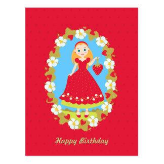 Chica marchosa del cumpleaños de la fresa tarjetas postales