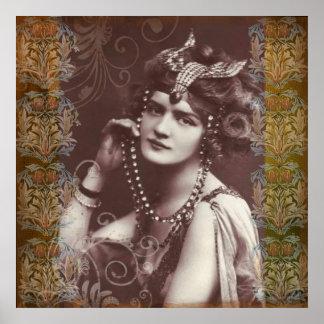 Chica marchosa del vintage en el poster de la