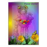 Chica, mariposas y huevos de Pascua Tarjetas