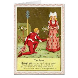 Chica medieval con el pretendiente tarjeta de felicitación