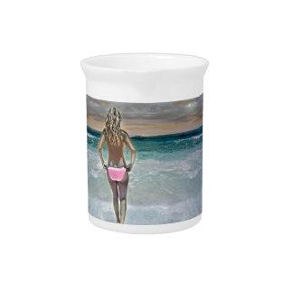 Chica mexicano de la playa jarrón