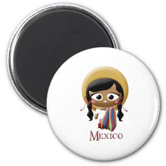 Chica mexicano imán redondo 5 cm