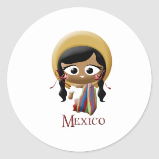 Chica mexicano pegatina redonda
