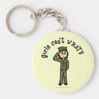 Chica militar - luz llavero redondo tipo pin